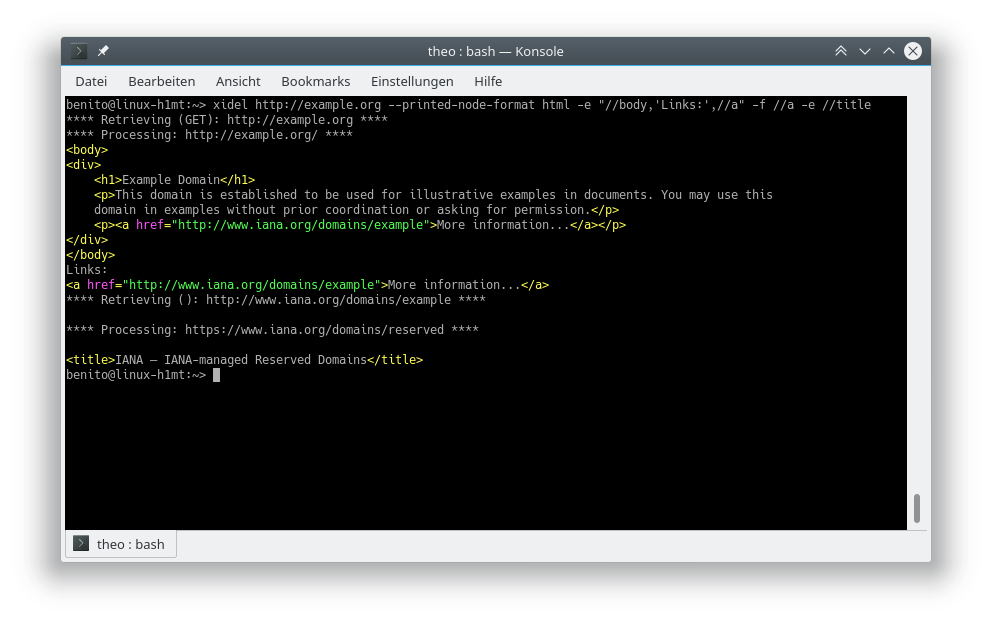 Xidel on Linux